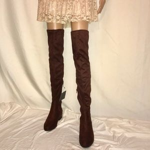 Chocolate Brown Faux Suede Over The Knee Boots